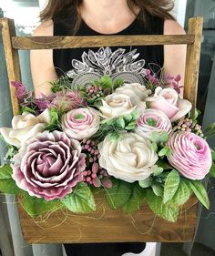 Flowers Bouquet Gift Box 62 Ideas For 2019 Artificial Flower Arrangements, Artificial Flowers, Floral Arrangements, Flower Girl Pictures, Nylon Flowers, Diy Bouquet, Flower Boxes, Handmade Flowers, Flower Decorations