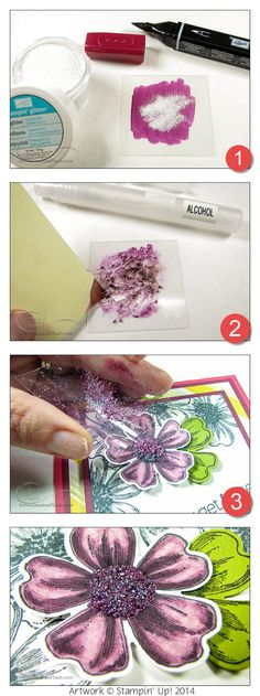 How to Coloring Glitter with Stampin' Up!'s Blendabilities Markers by Class in a Flash. #stampinup
