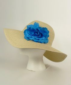 Tan & Blue Flower Sunhat by Gina Group $7.99 #Derby
