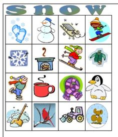Free snow bingo cards - language activity - Teacher calls a winter word, the students must cover the picture and make a sentence to go with the picture.