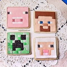 Minecraft Cookies (sugarkissed.net (Janine)) Tags: game cookies pig cookie sheep steve creeper decorated royalicing minecraft
