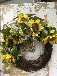 Sunflower Wreath Rustic Summer Wreath Front Door Wreath