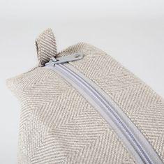 Large White Linen Makeup Bag Herringbone Linen by ThingStore