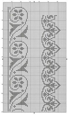 Easiest Crochet Frills Border Ever! Cross Stitch Boarders, Cross Stitch Designs, Cross Stitching, Cross Stitch Embroidery, Cross Stitch Patterns, Filet Crochet Charts, Crochet Cross, Knitting Charts, Crochet Stitches