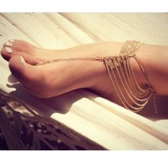 Barefoot sandals 1- pair of color gold Barefoot sandals for the beach or pool Jewelry