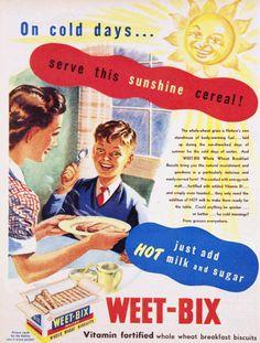 Weet-Bix: On cold days…serve this sunshine cereal! Weet-Bix with hot milk.