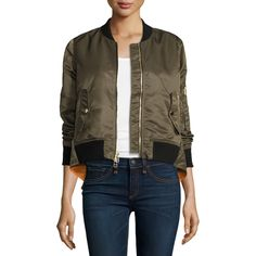Veronica Beard Satin Bomber Jacket ($695) ❤ liked on Polyvore featuring outerwear, jackets, army green, olive green bomber jacket, brown jacket, flight jacket, olive jacket and olive bomber jackets