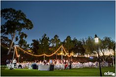 Marking lighting for outdoor reception at Heritage Park in Old Town San Diego.