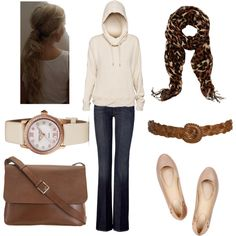 Cozy Cream by megs6001 on Polyvore featuring 7 For All Mankind, Kat Maconie, Valextra, Frédérique Constant, Warehouse, Wet Seal, TNA, hoodie, leather messenger bags and jeans