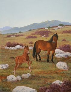 """""""On the Moor"""" Original oil painting by Ruth Sanderson from Hush, Little Horsie is available at the R. Michelson Galleries."""