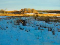 Peter Fiore Landscape Painting, Afternoon Shadows, Winter oil/linen, 18x24
