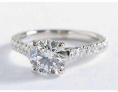 1 Carat Petite Pavé Crown Diamond Engagement Ring | Blue Nile