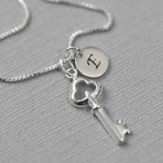 Personalized Sterling Silver Key Necklace, Custom Initial Key Necklace, Key Necklace, Heart Necklace, Valentines Gift, Gift for Her  $20