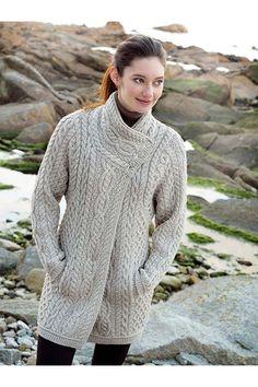 Aran Style 3/4 Length Coat  van irishhandcraft.com