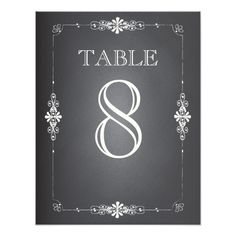 Chalkboard Wedding Reception Table Number Card Invite