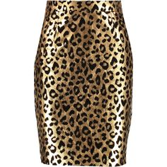 Milly Metallic leopard-print leather skirt ($335) ❤ liked on Polyvore featuring skirts, gold, leopard skirt, metallic skirt, zipper skirt, stretch skirt and leather skirt