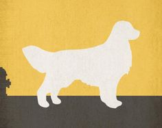 Golden Retriever Unique Dog Silhouette Art Wall Print Personalized Color Choice Puppy 8x10 11x14 12x18 Xlarge Oversized Modern Mod Dog Print
