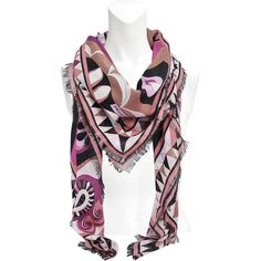 Emilio Pucci 135x135 cm cashmere and silk macro stole Paisley print (455 CAD) ❤ liked on Polyvore featuring accessories, scarves, multicoloured, cashmere stole, stole shawl, bright shawl, pure silk scarves and silk shawl