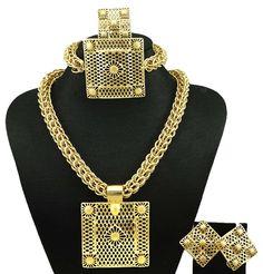 Berlapis emas dubai perhiasan, Fashion wanita kalung set perhiasan, Wanita necklace18k set perhiasan