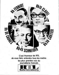 """""""Les plus grandes voix du journalisme français"""" sur RTL.  Le Nouvel Observateur, 30 avril 1968"""