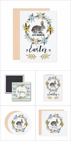 HELLO SPRING . Easter Bunny and Spring Flower Modern design Collection of Easter Greeting Cards and Postage Stamps, Easter Brunch Invitations, Easter Brunch Favors and Easter Gifts from the Art of Carlos Maraz store at zazzle.com