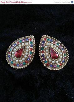 Huge Vintage Colorful Rhinestone Earrings Chunky by MartiniMermaid