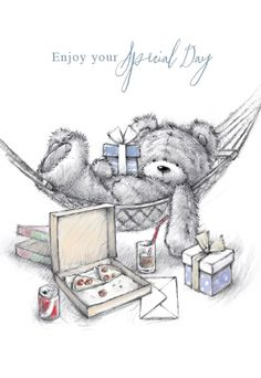 Enjoy your Special Day Happy Birthday Meme, Happy Birthday Pictures, Happy Birthday Messages, Tatty Teddy, Vintage Birthday Cards, Birthday Greeting Cards, Birthday Greetings, Cute Teddy Bear Pics, Birthday Clips