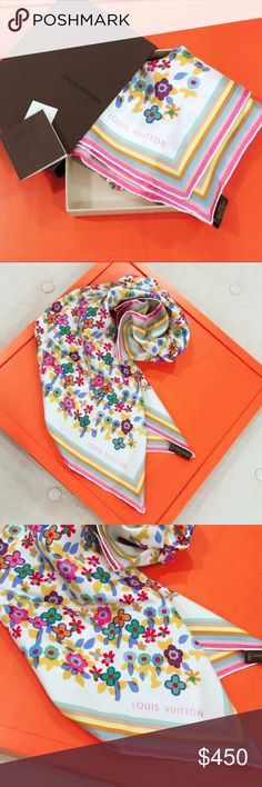 Louis Vuitton vintage flower silk scarf authentic, rare multicolor flower scarf in like new condition. received as a gift but never worn it. almost too pretty to wear  comes w an original box n a booklet Louis Vuitton Accessories Scarves & Wraps