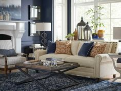 Transitional blue and cream living room.
