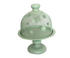 LOVELY DECOR: Alzatina in ferro con coperchio Alexis verde - d 30/h 35 cm