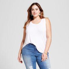 Women's Plus Size Drapey Tank - Ava & Viv Fresh White 3X