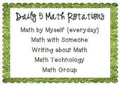 Math Daily 5 Ideas