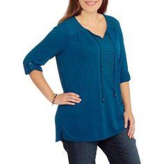 Faded Glory Women's Plus-Size Lace Bib Top, Size: 3XL, Blue