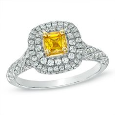 1-1/4 CT. T.W. Certified Cushion-Cut Yellow and White Diamond Engagement Ring in 14K White Gold
