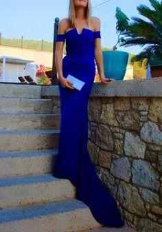 Sexy Off-The-Shoulder Short Sleeve Solid Color Asymmetrical Women's DressMaxi Dresses | RoseGal.com
