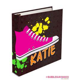 Personalized Three Ring Girls Sneaker Hot Pink Paint Grunge Custom Binder for School Organizer Offic Box Supplier, Three Rings, 3 Ring Binders, Custom Binders, Monogram Frame, Girls Sneakers, School Organization, Vinyl Designs, Kid Names
