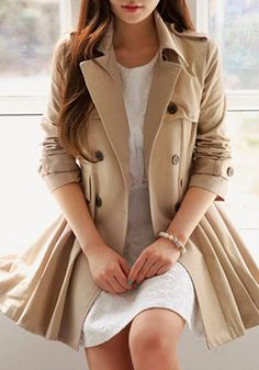 Flared Double-Breasted Trench Coat - With Pleated Design