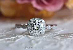 1.25 ct.tw Art Deco Ring-Halo Engagement Ring-6.0mm Center