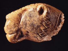 Lion head in Ivory, Vogelherd Cave, Germany 35,000 years old