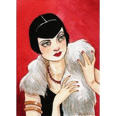 """ACEO Print Girl Woman Art Deco Flapper """"Vamping It Up"""" by Amy Abshier Reyes 21/60"""