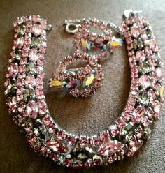 Sherman light pink AB and grey earrings and bracelet 💖 Sparkly Jewelry, Rhinestone Jewelry, Vintage Rhinestone, Crystal Jewelry, Wedding Jewelry, Silver Jewelry, Vintage Costume Jewelry, Vintage Costumes, Art Deco Jewelry