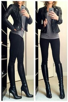 Jeans noires, bottes hautes noires, t-shirt gris, veste cuire noire