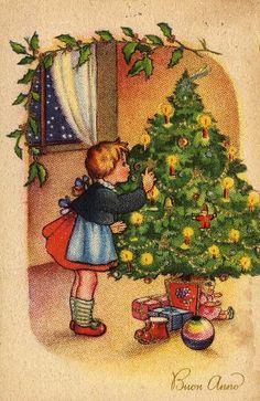 Miss Jane Christmas Card ~ Little Girl & Christmas Tree ~ Orange Background