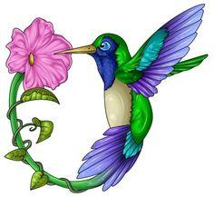 Hummingbird and flower tattoo design