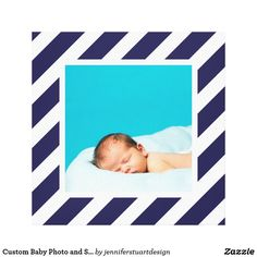 Custom Baby Photo and Striped Frame Nursery Art Canvas Print