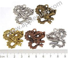 Zinc Alloy Dragon Charms,Flat,Cadmium And Lead Free,Various Color For Choice,Length*Width*Thick:Approx 27.5*30*6mm,Hole:Approx 2.5mm,Sold By Bags,NO 000178  Unit Price:USD 0.08 MOQ:450 pcs Email: lichunjuan1@sina.com