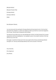 ideas about resignation letter on pinterest   sample    example of resignation letter   google search