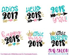 Cute New Year's Eve 2018 Bundle SVG Cut File Set in SVG, EPS, DXF, JPEG, and PNG format for Cricut & Silhouette cutting machines