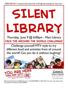 I first did a Silent Library program back in the fall for Teen Read Week, & learned two things: Teens completely fail at being quiet, let alone silent. They love doing all sorts of sill… Library Games, Library Work, Teen Library, Library Events, Library Activities, Library Ideas, Library Inspiration, College Activities, Activities For Teens
