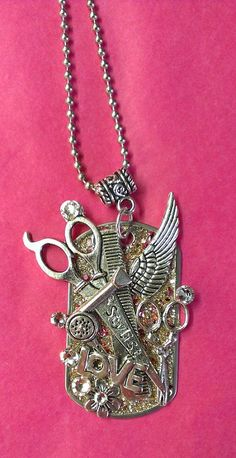 HANDMADE Bling Stylist with Angel Wing Dog Tag Necklace